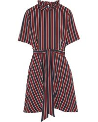 Ganni | Striped Silk Crepe De Chine Mini Dress | Lyst