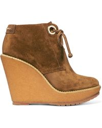 Burberry   Suede Wedge Boots   Lyst