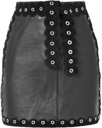 Maje - Eyelet-embellished Suede-trimmed Leather Mini Skirt - Lyst