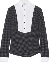 Cavalleria Toscana - Cotton Blend-paneled Polka-dot Stretch-jersey Top - Lyst