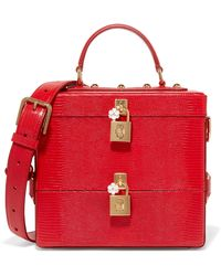 Dolce & Gabbana - Embellished Glossed Lizard-effect Leather Vanity Case - Lyst