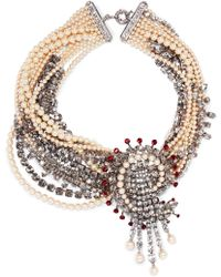 Etro - Silver-plated, Crystal And Faux Pearl Necklace - Lyst