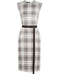 CALVIN KLEIN 205W39NYC - Checked Silk Crepe De Chine Dress - Lyst