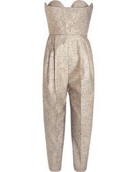 Delpozo - Strapless Metallic Tweed Jumpsuit - Lyst