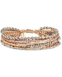 Chan Luu - Gold, Silver And Rose Gold-tone Beaded Wrap Bracelet - Lyst