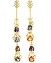 Daniela Villegas - Double Arrow 18-karat Gold Multi-stone Earrings - Lyst