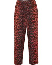 Ganni - Bijou Leopard-print Cotton-twill Tapered Pants - Lyst