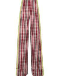 Diane von Furstenberg - Grosgrain-trimmed Checked Canvas Wide-leg Trousers - Lyst