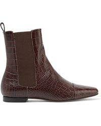 Trademark - Delphine Croc-effect Leather Ankle Boots - Lyst