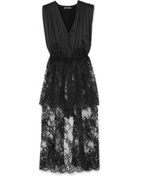 Alexander McQueen - Asymmetric Cotton-blend Lace And Silk-satin Top - Lyst