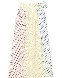 Rosie Assoulin - Polka-dot Flocked Cotton-blend Poplin Midi Skirt - Lyst