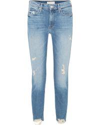 Mother - Flirt Fray Distressed Mid-rise Straight-leg Jeans - Lyst