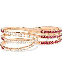 Melissa Kaye | 18-karat Rose Gold, Ruby And Diamond Two-finger Ring | Lyst