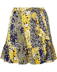 MICHAEL Michael Kors - Ruffled Floral-print Chiffon Mini Skirt - Lyst