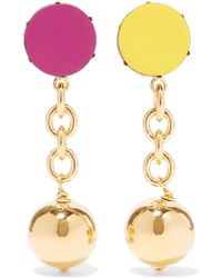 Marni - Orbit Gold-tone Leather Clip Earrings - Lyst