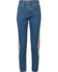 Palm Angels - Hoch Sitzende Jeans Mit Schmalem Bein, Ripsbandbesatz Und Streifen - Lyst