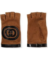 Gucci - Patent Leather-trimmed Suede Fingerless Gloves - Lyst