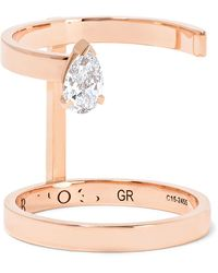 Repossi - Serti Sur Vide 18-karat Rose Gold Diamond Ring - Lyst
