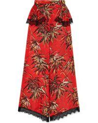 Rodarte - Printed Silk-blend Satin Wide-leg Trousers - Lyst