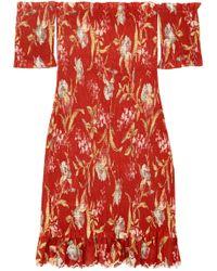Zimmermann - Corsair Smocked Off-the-shoulder Linen-cotton Floral Dress - Lyst