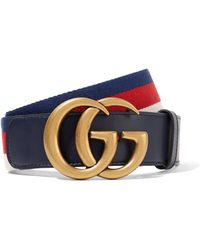 Gucci - Striped Canvas And Leather Belt - Lyst