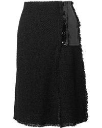 Sonia Rykiel | Faux Patent Leather-paneled Bouclé Skirt | Lyst