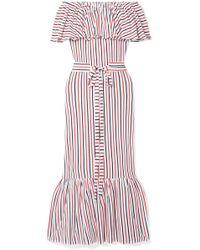 MDS Stripes - Rebecca Off-the-shoulder Ruffled Striped Cotton-jersey Midi Dress - Lyst