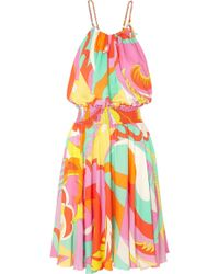 Emilio Pucci - Smocked Printed Voile Mini Dress - Lyst