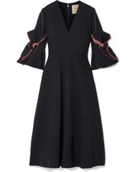 ROKSANDA - Sibella Bow-detailed Satin-trimmed Crepe Midi Dress - Lyst