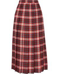 MSGM - Pleated Tartan Crepe De Chine Midi Skirt - Lyst