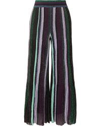 Missoni | Striped Metallic Stretch-knit Wide-leg Pants | Lyst