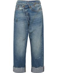 R13 - Crossover Asymmetric Distressed High-rise Wide-leg Jeans - Lyst