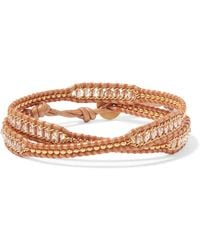 Chan Luu - Leather, Gold-tone And Bead Wrap Bracelet - Lyst