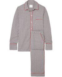 Three J Nyc - Halle Checked Cotton-flannel Pajama Set - Lyst