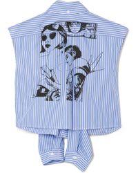 Prada - Printed Striped Cotton-poplin Shirt - Lyst