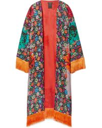 Etro - Fringed Floral-print Satin-jacquard Kimono - Lyst