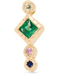 Jennie Kwon - Journey 14-karat Gold, Emerald And Sapphire Earring Gold One Size - Lyst