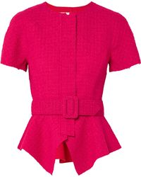Oscar de la Renta - Belted Wool-blend Tweed Peplum Jacket - Lyst