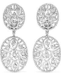 Buccellati - 18-karat White Gold Diamond Earrings - Lyst