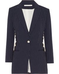 Veronica Beard - Taylor Lace-up Pinstriped Crepe Blazer - Lyst