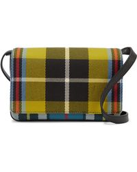 Burberry - Checked Twill And Textured-leather Shoulder Bag - Lyst