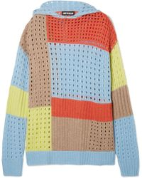 House of Holland | Hooded Patchwork Merino Wool-blend Jumper | Lyst