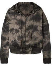 ATM - Tie-dyed Crinkled Silk-charmeuse Hooded Top - Lyst