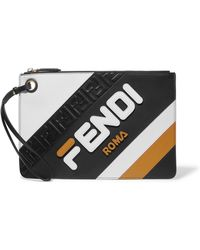 Fendi - + Fila Striped Leather Pouch - Lyst