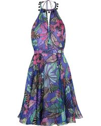 Matthew Williamson Woman Pleated Printed Silk Halterneck Dress Multicolor Size 6 Matthew Williamson dnYE43