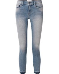 Current/Elliott - The Stiletto Cropped Distressed Mid-rise Skinny Jeans - Lyst
