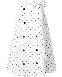 Lisa Marie Fernandez - Diana Embroidered Polka-dot Linen Midi Skirt - Lyst