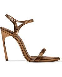Saint Laurent - Talitha Metallic Leather Sandals - Lyst