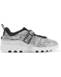 Miu Miu - Glittered Neoprene And Rubber Sneakers - Lyst