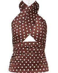 Racil - Essaouira Cutout Polka-dot Silk-satin Top - Lyst